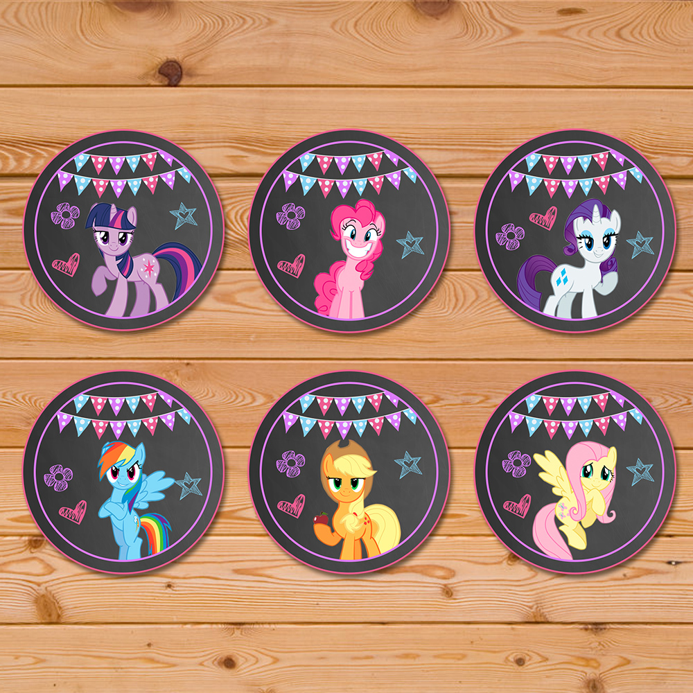 My Little Pony Cupcake Toppers Chalkboard Chevron * My Little Pony Birthday * My Little Pony Stickers * My Little Pony Favors