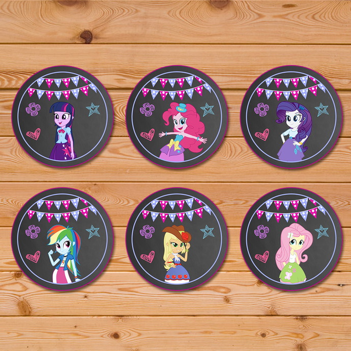 Equestria Girls Cupcake Toppers Chalkboard Chevron * Equestria Girls Birthday *