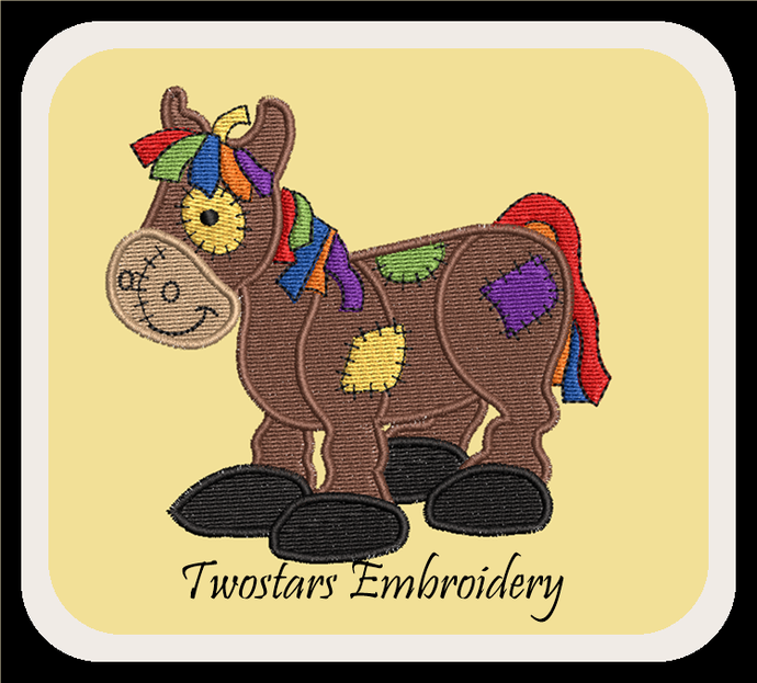 Patch horse digital embroidery file. In 4x4 fill and 5x7 6x10 applique design.