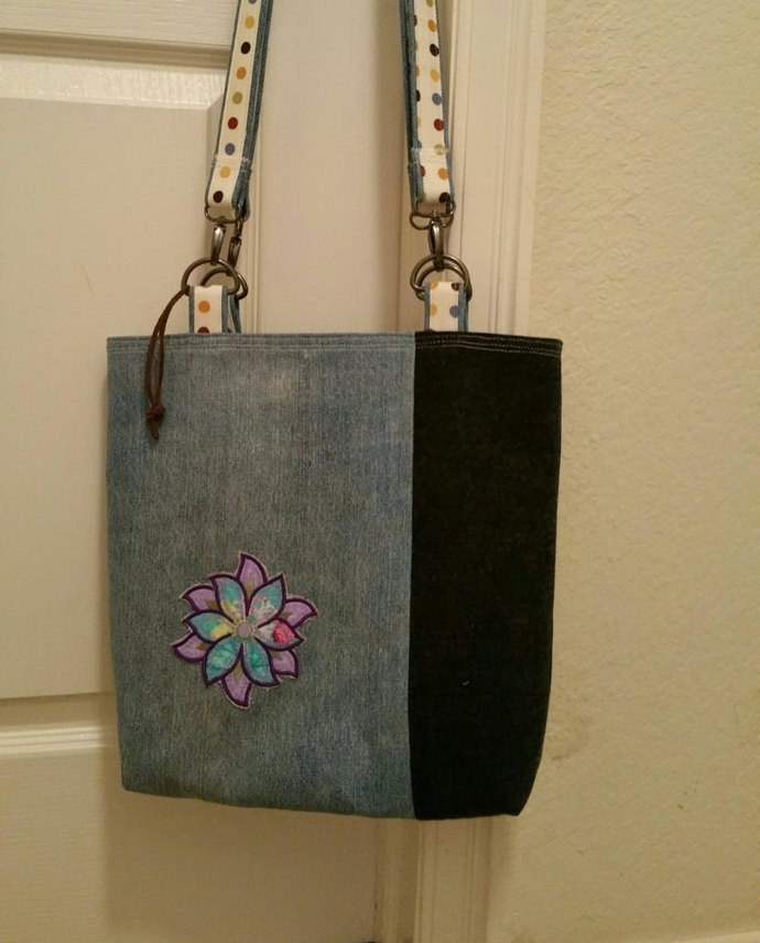 Upcycled Blue Jeans made into a Cute Shoulder Bag