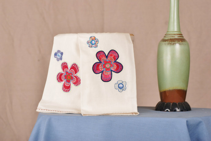 Tea Towels with Applique Embroidered Funky Flowers