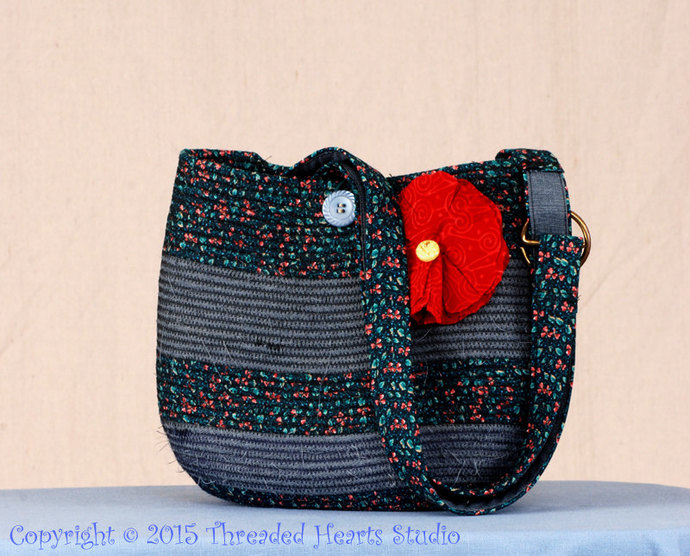 Wrapped Cord Blue Fabric Shoulder Bag