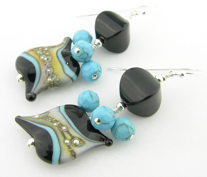 A Bit Pointy Earrings - black turquoise ivory sterling silver dangles onyx