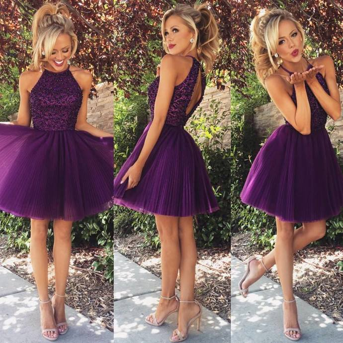 A-line High Neck Black Beaded Bodice Grape Tulle Short Prom Homecoming Dresses