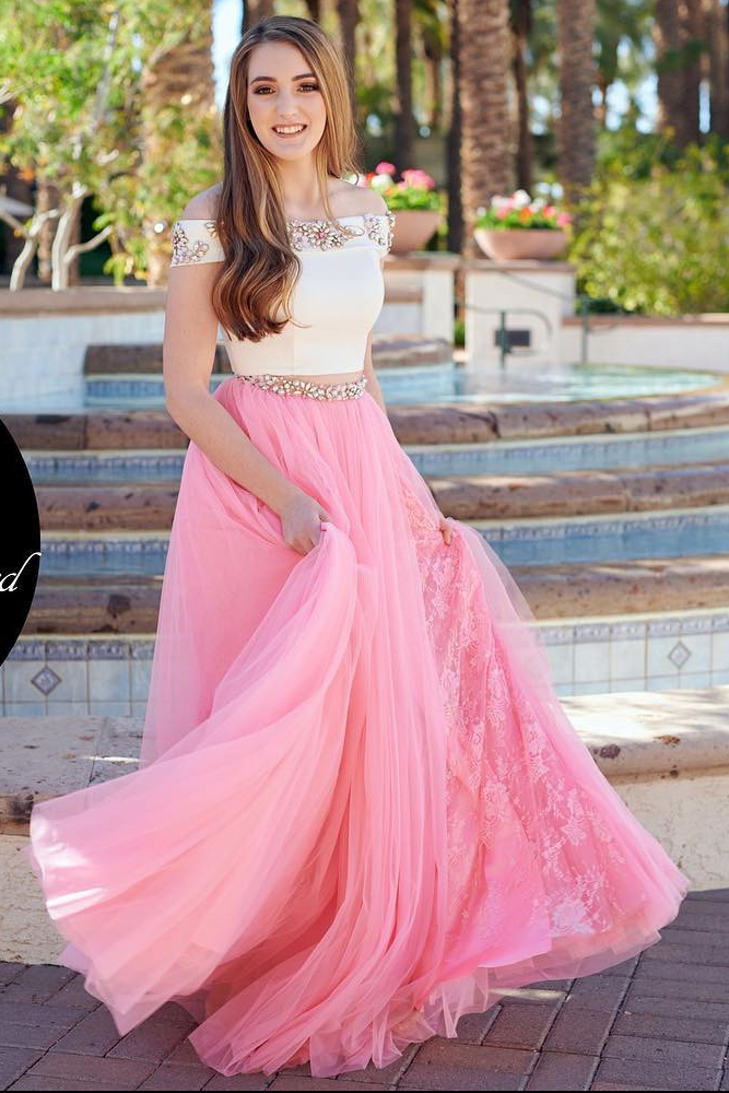 Charming Prom Dress,Two Piece Off the Shoulder Prom Dress,Princess Prom