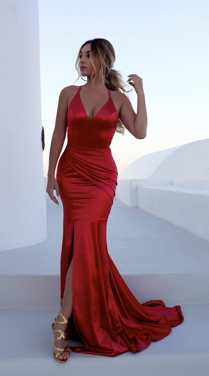 Sexy Simple Prom Dress,Backless Prom Dress,V- neckline S traps Red Mermaid Prom