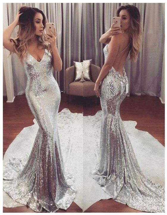 Gold Champge Prom Dress,Sexy Prom Dress,Sequin Mermaid Prom Dress,Backless Prom