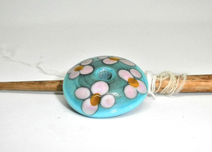 Glass Spindle Whorl in Blue and Pink - Handmade Lampwork Whorl