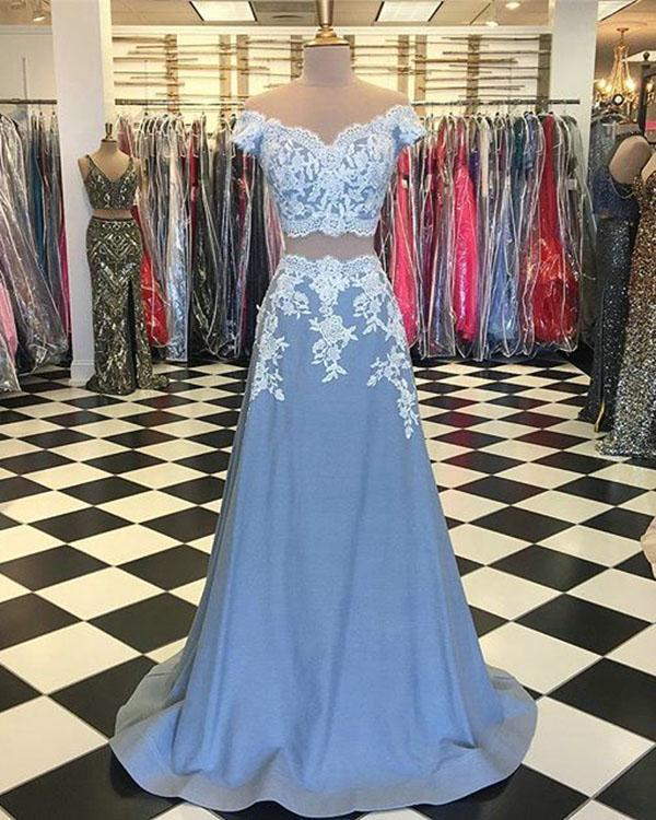 Two Piece Prom Dress, Light Blue Lace Prom Dresses,Cap Sleeve Prom Dress,Prom
