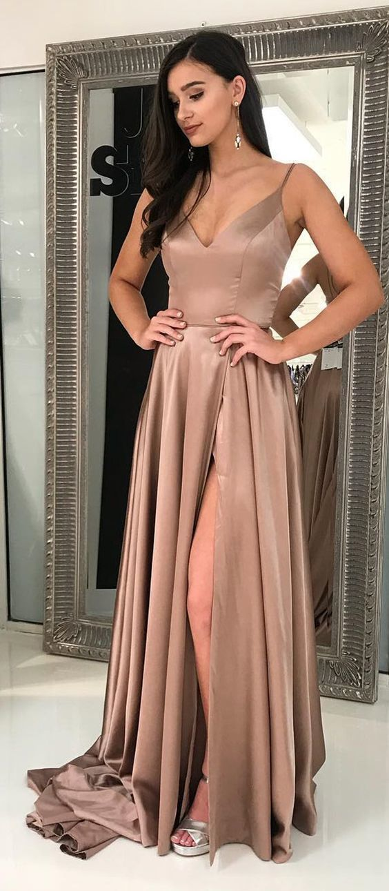 Champagne Prom Dress,Sexy Prom Dress,Long Prom Dress With Side Slit,Sexy Party
