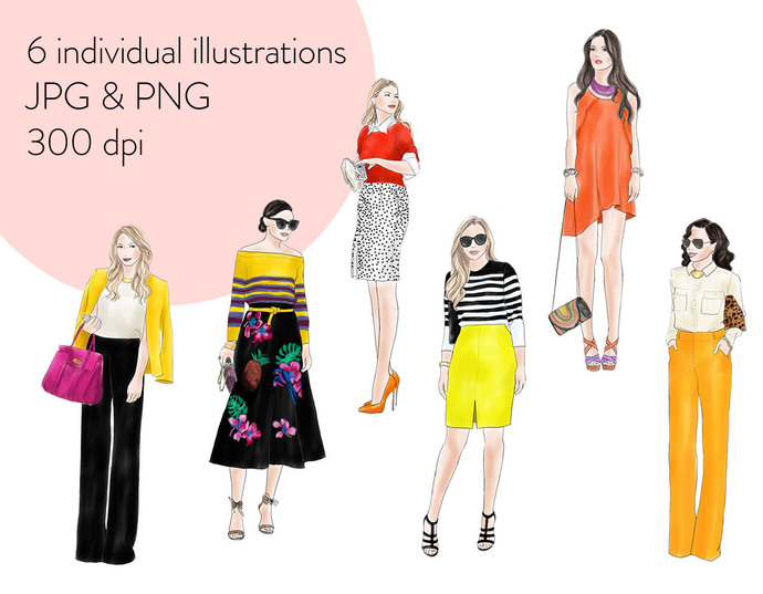 Watercolour fashion illustration clipart - Fashion Girls 10 - Light skin