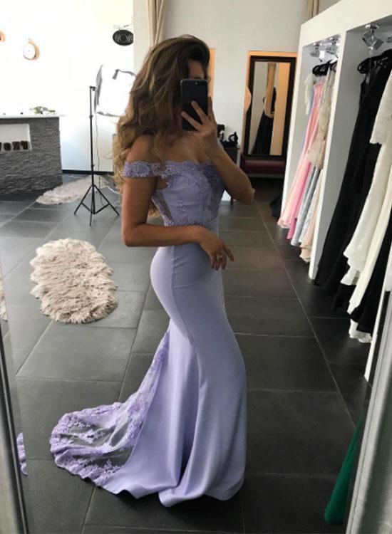 Charming Prom Dress,Sexy Mermaid Prom Dress,Prom Dress,Light Purple Lace Prom