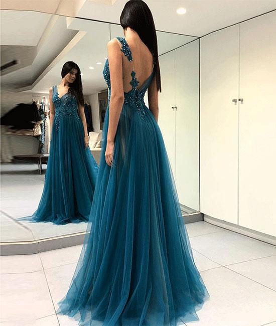 Sexy Backless Lace Appliques Prom Dress,Prom DressLong Prom Dress,Long Evening