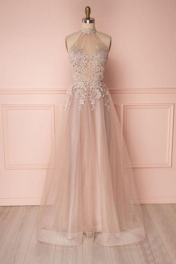 Senior Prom Dress,Beading Prom Dress,Lace Prom Dress,High Neck Prom Dress,High