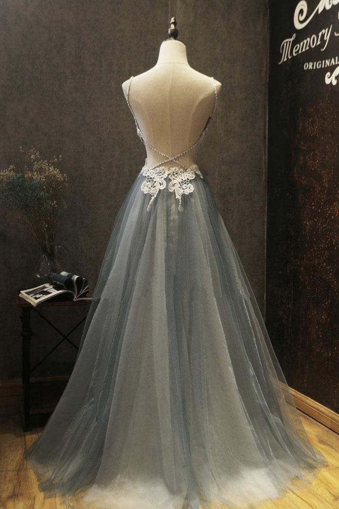 Sexy Tulle Prom Dress,Prom Dress,Long Prom Dress,Lace Appliques Prom Dress,Prom