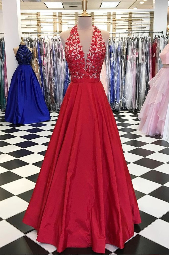 Red V Neck Prom Dress,Lace Appliques Prom Dress,Sexy Party Dress,Long Prom