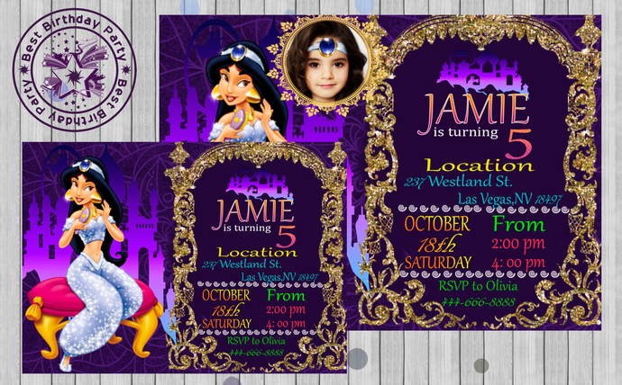Princess Jasmine Invitation Disney Invite Birthday