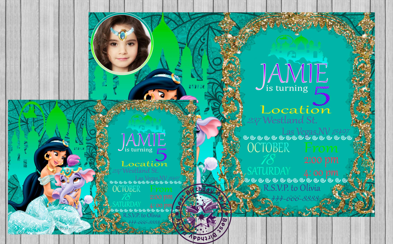 princess jasmine invitation  jasmine by bestbirthdayparty