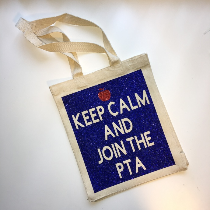 Keep calm and join the PTA, PTA gifts, Custom tote bags, unique teachers gift