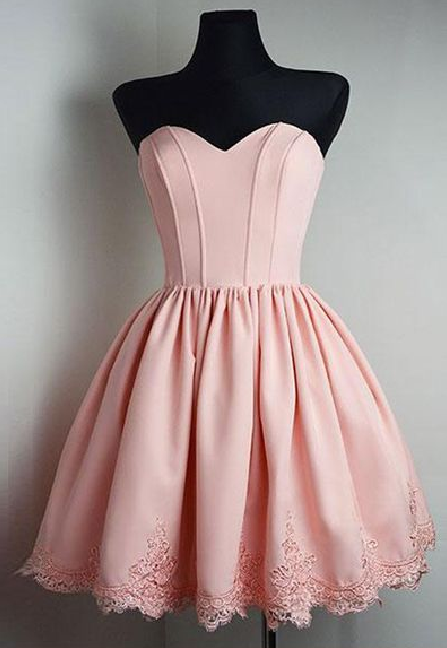 SCute Homecoming Dress,Satin Prom Gown,Sweetheart Prom Dress,Appliques short