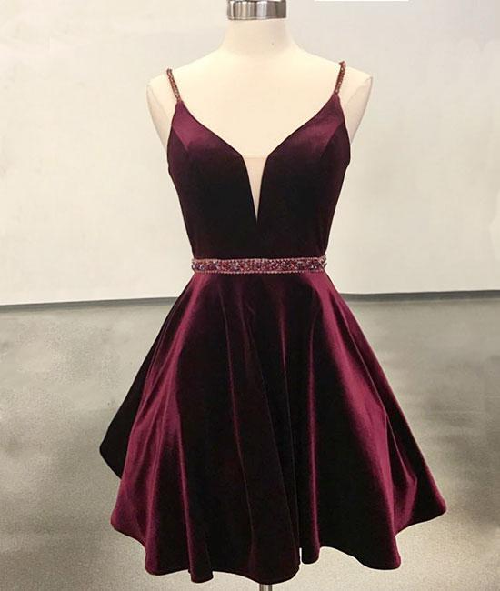 Cute Homecoming Dress,Satin Prom Gown,Spaghetti straps Prom Dress,Beading short