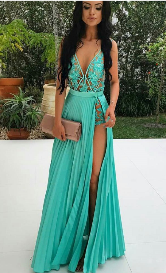Sexy Deep V Neckline Long Evening Dress, Sexy Blue Appliques Long Prom Dresses