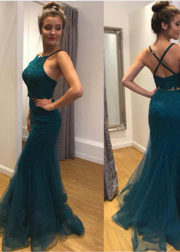 Dark Green Lace Mermaid Prom Dresses Long Women Evening Gowns Formal Party Dress