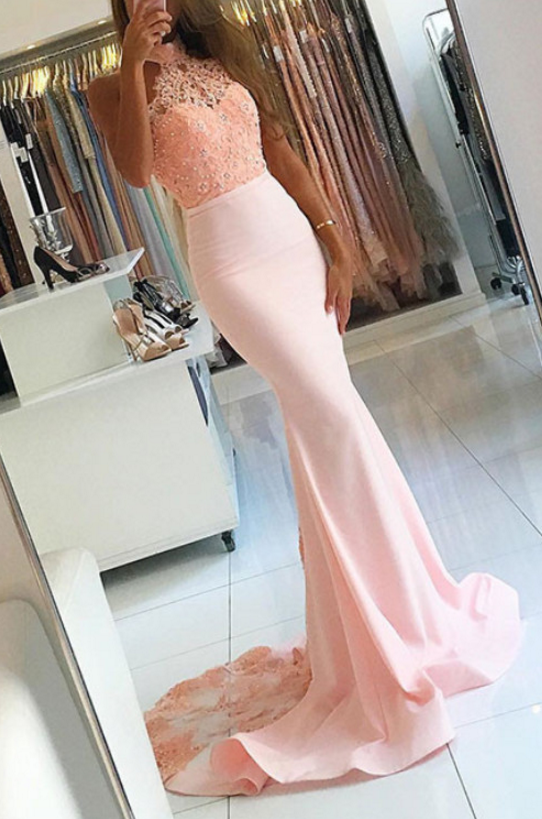 Modest Mermaid Prom Dresses Long Lace Formal Dress Evening Gowns