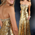 Gold Sequins Prom Dresses,Mermaid Evening Gowns ,Strapless Formal Party Dresses