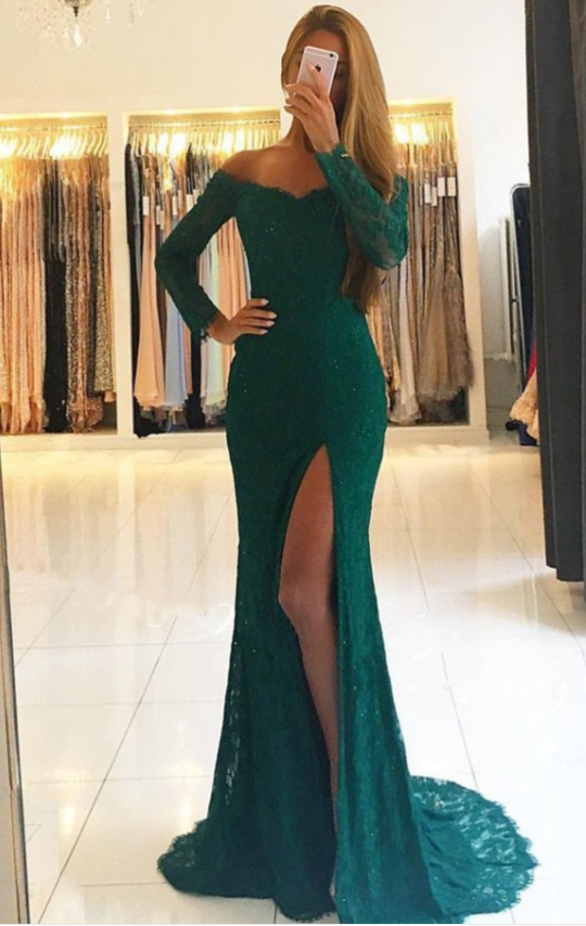 Mermaid Off-the-Shoulder Long Sleeves Dark Green Lace Prom Dress with Split