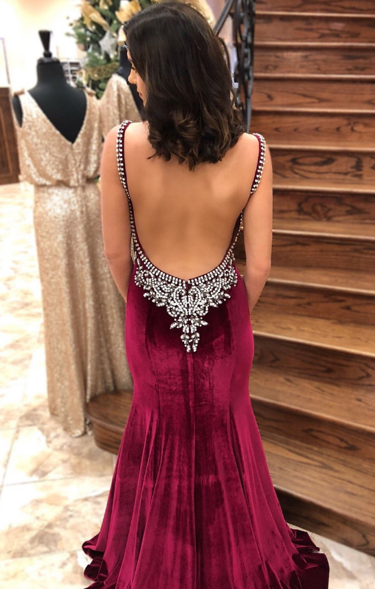 Mermaid Burgundy Velvet Long Prom Dress with Open Back