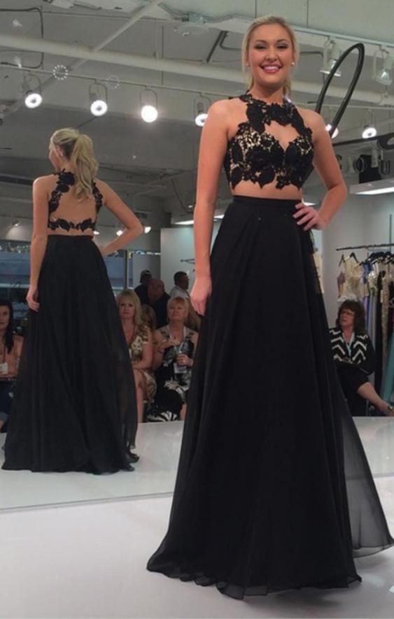 Black Halter Backless Evening Dresses Long Chiffon Elegant Prom Party Dress