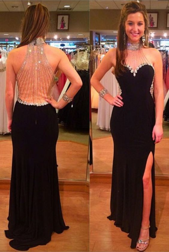 Beaded Mermaid Prom Dress, Black Prom