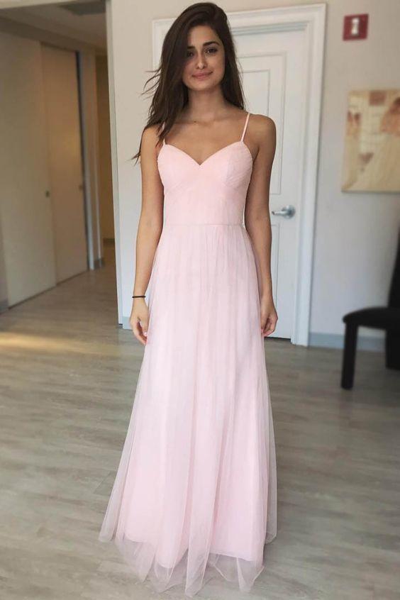 Pink Chiffon Prom Dress, Long Prom Dresses, Spaghetti Straps A-line Prom Dresses