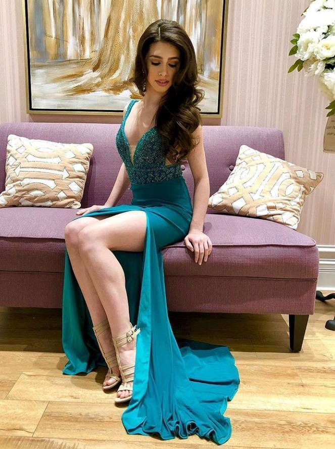 Teal Beading Prom Dress V-neck Pageant Dress with Side Slit