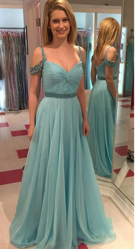 Customized Floor-length Evening Prom Dress Long Light Blue Dresses With Backless