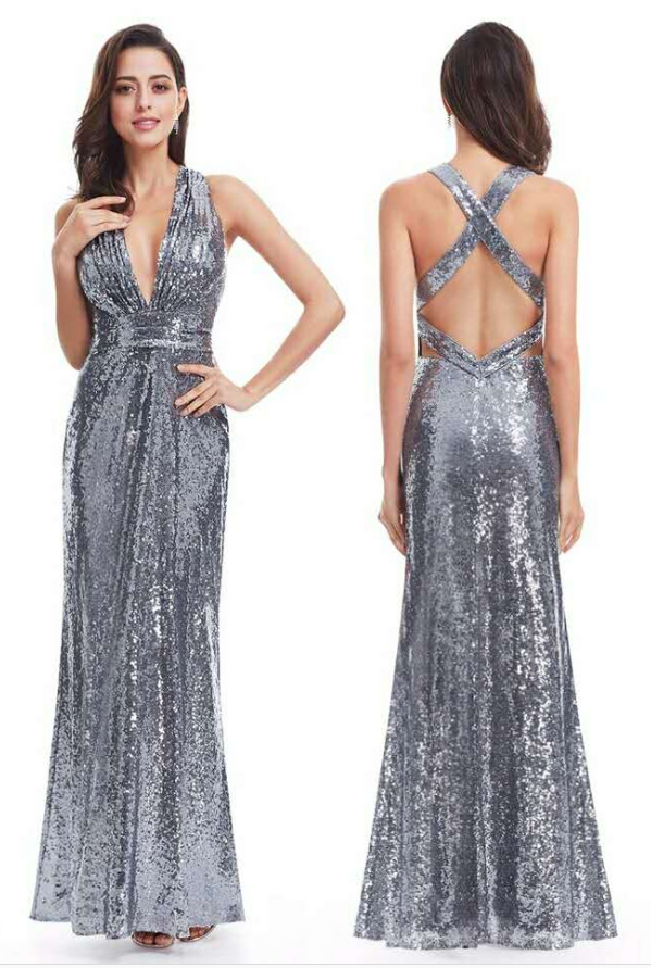 Sexy sequins V-neck sleeveless long prom dress