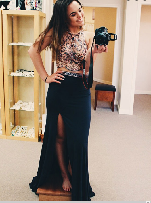 Two Piece Round Neck Navy Blue Spandex Prom Dress with Beading