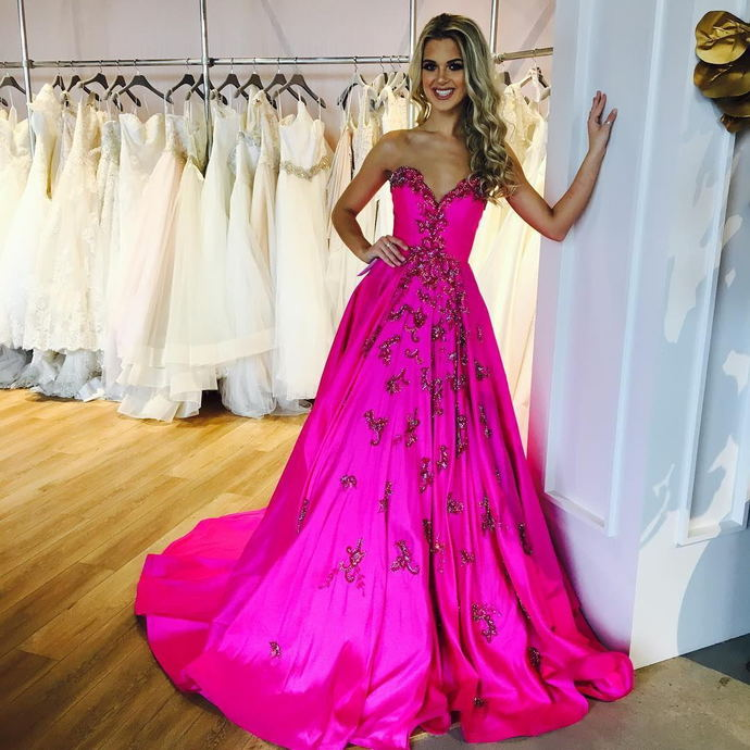 Prom Dresses 2018fuchsia Satin Long Prom Dresses By Dress On Zibbet