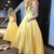 Gorgeous Strapless Yellow Long Prom Dress with Pockets