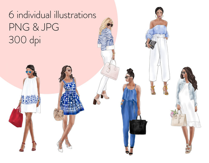 Watercolour fashion illustration clipart - Fashion girls 16 - Dark Skin