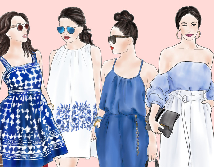 Watercolour fashion illustration clipart - Fashion girls 16 - Light skin