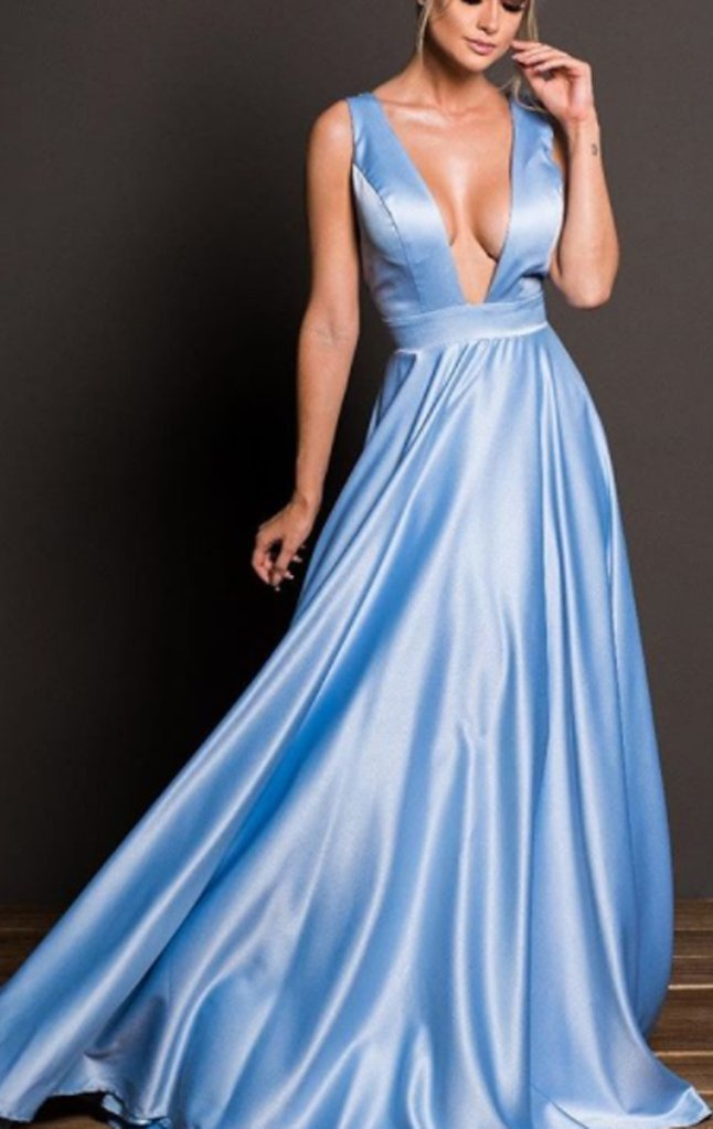 Deep V Neck, Satin Long Prom Dress ,Sky Blue by prom dresses on Zibbet