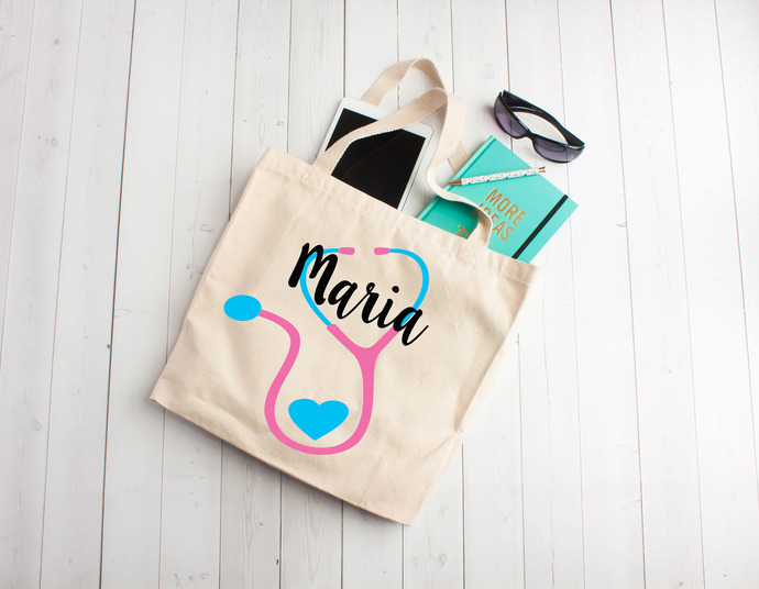 Nurse, Nurse tote bag, stethoscope monogram, Cotton Tote Bag, nurse party, gifts