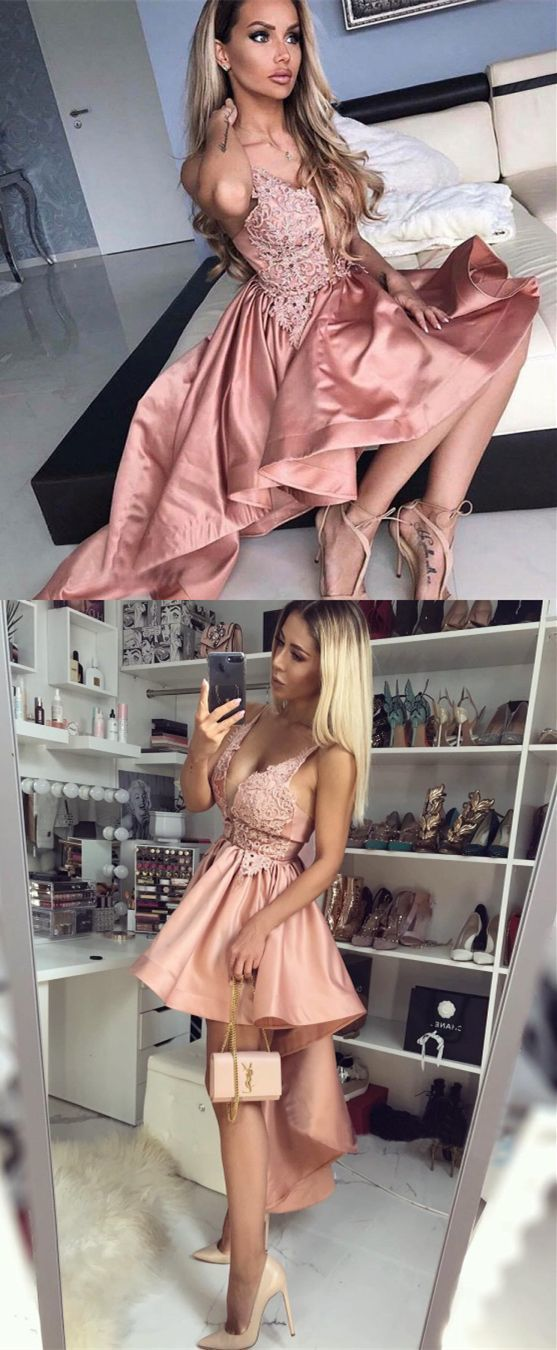 A-Line Spaghetti Straps Blush Satin Short Prom Dress with Lace, modest blush