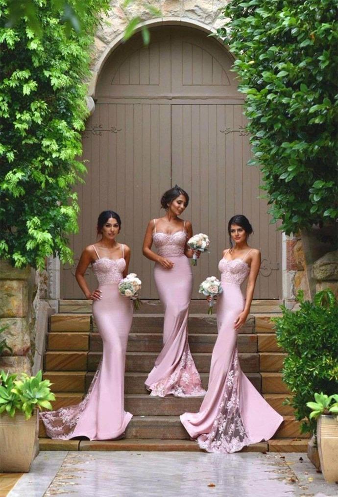 Spaghetti Straps Lace Bbridesmaid Dress,High Quality Mermaid Bridesmaid