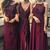 Multi Styles A-Line Floor-Length Maroon Bridesmaid/Prom/Evening Dress with Lace
