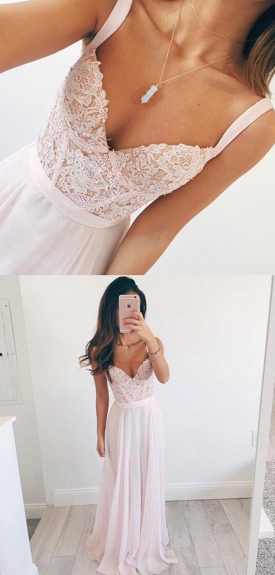 d398c54bdf3d V-neck Long Chiffon Baby Pink Long Prom Dress by DestinyDress on