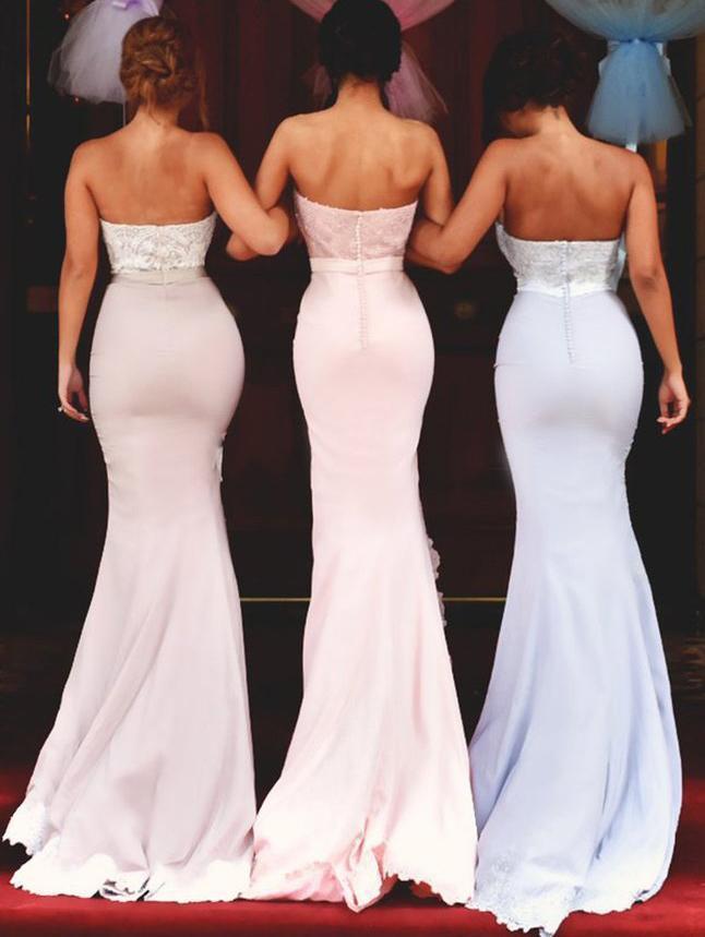 2018 Sweetheart Mermaid Lace Bridesmaid Dress,Strapless Bridesmaid Dresses,Split