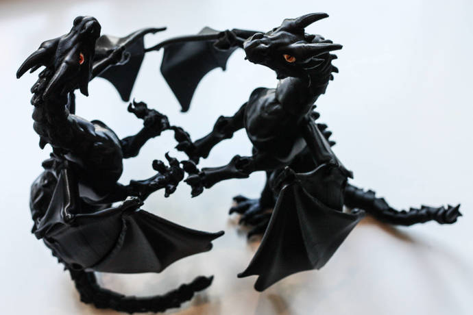 BJD Dragon | Ball Jointed Dragon | Black Dragon | Articulated Dragon | Toy
